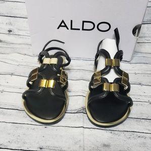 ALDO Reinelle Black And Gold Sandal US 7